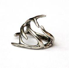 Deer Antler Ring -Sterling Overlay on Solid White Bronze Deer Antler Ring 075 by mrd74 on Etsy https://www.etsy.com/listing/100442223/deer-antler-ring-sterling-overlay-on