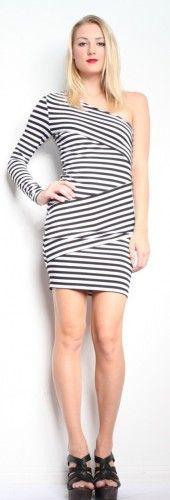 Torn by Ronny Kobo Olivia One Shoulder Stripes - Black/White $194