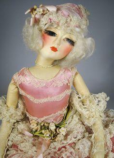A/O Blossom Deco Flapper Boudoir Bed Doll 1920's - 30's