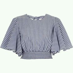 Blue stripe print frill sleeve crop top £ - My CMS African Fashion Dresses, Teen Fashion Outfits, Casual Outfits, Mode Top, Designs For Dresses, Crop Top Outfits, Schneider, Fashion Sewing, Trendy Tops