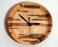 Turned Wood Wall Clock of Ambrosia Maple by WoodArtForLiving, $90.00