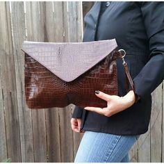 Leather envelope clutch bag - fashion wristlet - handbag jacky
