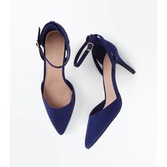 Navy Suedette Cross Over Ankle Strap Courts ❤ liked on Polyvore featuring shoes, pumps, navy blue ankle strap shoes, navy ankle strap shoes, ankle strap pumps, ankle wrap pumps and ankle strap shoes
