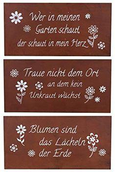 Schilder Set Eisen Rost B x H Garten Deko Sprüche Wandbild - Details zum Schilder-Set:- Material der Hängeschilder: Eisen, Rost- Gesamtmaße der Wandschilder: -