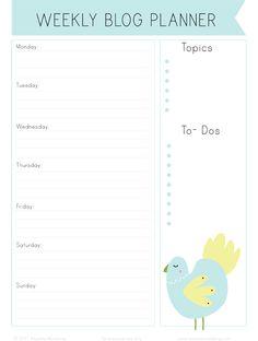 free printable blog calendar/planner