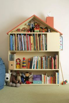 Why not take a small bookcase and turn it into a home-made dollhouse? (If you have the room?) I bet a small Ikea bookcase would make for an affordable large dollhouse with a little elbow grease and paint. Handmade Home, Cheap Bookshelves, Bookshelf Ideas, Book Shelves, House Shelves, Bookcases, Dollhouse Bookcase, Deco Kids, Diy Regal
