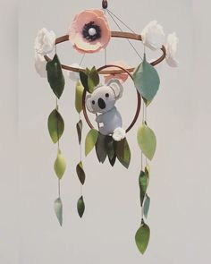 Felt Floral Baby Crib Mobile - Flower Mobile for Baby Girl Nursery - Whimsical Floral Nursery Mobile - Felt Flower Mobile - Mobile With Felt Baby Girl Nursery Decor, Baby Boy Rooms, Baby Cribs, Baby Decor, Kids Decor, Koala Nursery, Toys For Baby Girl, Diy Nursery Decor, Baby Mädchen Mobile
