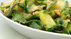 """Zucchini """"Noodles"""" with Pesto & Pine Nuts IV Recipe"""