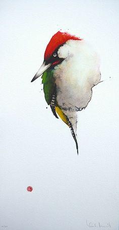 Karl Mårtens - Green Woodpecker - watercolor