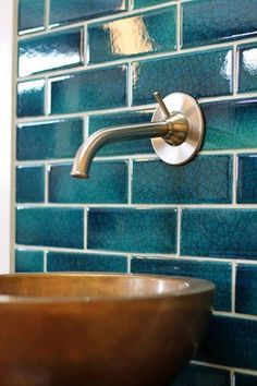flooring color A rich, juicy teal with a crackle glaze is the perfect backsplash for this golden vessel sink. Teal Bathroom Decor, Bathroom Red, Bathroom Interior Design, Bathroom Styling, Bathroom Accessories, Teal Bathroom Furniture, Back Splash Bathroom, Teal Bathrooms, Small Bathroom