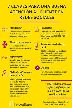 7 claves para una buena atención al cliente en redes sociales. Infografía en español. #CommunityManager