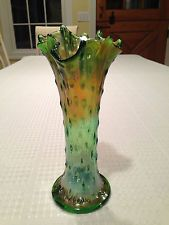 Vintage NORTHWOOD 9.5-inch GREEN & GOLD CARNIVAL GLASS Ruffled TREE TRUNK VASE