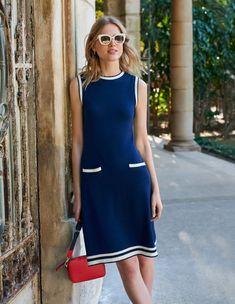 Mira Stitch Dress - Navy Spring Summer Fashion, Winter Fashion, Boden Uk, Navy Women, Retro Design, Bleu Marine, Elegant, Cotton Dresses, Vintage Inspired