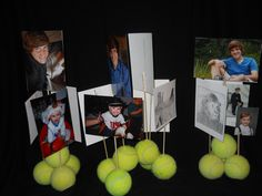 Table centerpieces - hot glued old tennis balls, drilled holes, and inserted skewers with photos.