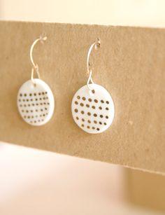 Simple modern gold and porcelain earrings - white porcelain disc on gold plated hooks, porcelain jewelry, ceramic earrings, wedding bridal