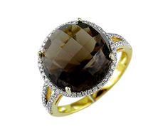 Ladies Diamond & Smoke Topaz Ring