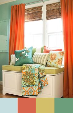 Look how adorable these colors work together.  Pairing complementary colors, like orange and blue, is a great idea.  These are the color combinations that are most pleasing to the eye.  If you use complementary colors you can get away with more color.  And more color is a good thing :).