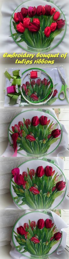 Embroidery bouquet of tulips ribbons. Master Class
