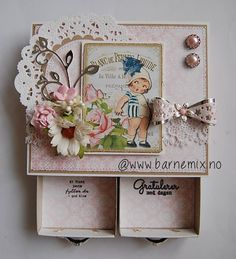 Graphics from TheVintageRemix on Etsy. Craft by Barnemix 3d Paper Crafts, Digital Collage, Collage Sheet, Craft Projects, Decorative Boxes, Frame, Cards, Etsy, Vintage
