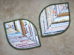 Selvage Leaf Pot Holder Hot Pads Made to Order from Quilts by Elena Set of 2 Hotpads Trivits Candle Mats. 20.00, via Etsy.