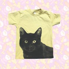 Hey, I found this really awesome Etsy listing at http://www.etsy.com/listing/162860100/kids-tee-shirt-black-cat-screenprinted