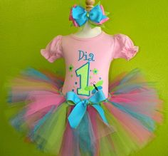 #MC Baby Pink n Light Green Dragonfly Girls Birthday Tutu Outfit by PoshBabyStore.com