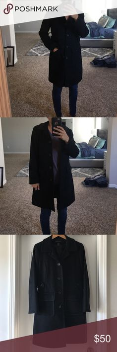 "Black wool coat Beautiful black wool coat. Would not be selling but it is too big for me. It is in great shape and has only been worn a handful of times. Measures 36"" in length and almost 20"" across the chest. Moda International Jackets & Coats"