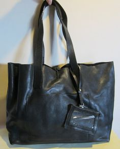 Gorgeous XL leather bag, shoulder bag, tote, black leather, excellent condition, Ugo Rosetti Italy Leather Bag, Black Leather, Vintage Bags, Vintage Leather, Italy, Shoulder Bag, Handbags, Fashion, Black Patent Leather