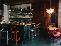 Sometimes simple and humble is best when it comes to design; case in point, the interior of Lulu & Po in Fort Greene, Brooklyn, a low-key restaurant with an industrial vibe punctuated with dashes of color. Oh, and a giant rooster mural.