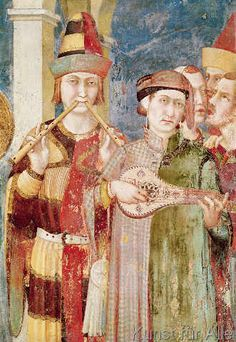 Simone Martini - Detail of musicians from the Life of St. Martin, c.1326