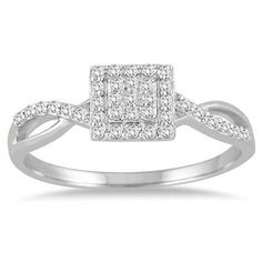 1/5 Carat TW Diamond Square Halo Twist Ring in 10K White Gold