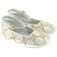 GUCCI Baby Girls White Ankle Ballerina Pre Walkers With GG Stud... ($230) found on Polyvore