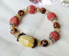Agates Sponge Coral and rutilated Quartz by KayouBijouDesigns, $55.00