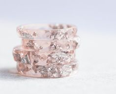Nude Resin Ring Stacking Ring Silver Flakes Faceted by daimblond