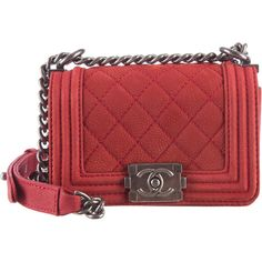 Pre-owned Chanel Matte Caviar Mini Boy Bag (11 720 PLN) ❤ liked on Polyvore featuring bags, handbags, red, leather purse, quilted leather handbags, leather hand bags, red hand bags and red purse