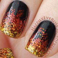 instagram @Rose V | Catching Fire nails #nailart #glitter