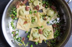 Spring Pea Ravioli with Pea Shoots & Prosciutto - The Yellow Table Ravioli Filling, Yellow Table, Prosciutto, Pasta Recipes, Dinners, Favorite Recipes, Eat, Spring, Food