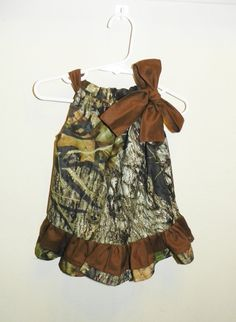Mossy Oak double ruffle  brown baby girl 0 3 6 9 12 18 months pillowcase dress camo. $26.00, via Etsy.