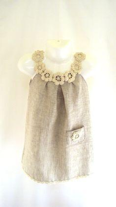Abito di lino organico fiore / tunica uncinetto / cucire per
