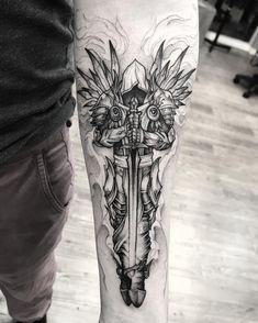 Tyrael, Diablo Forarm Tattoos, Bear Tattoos, Eagle Tattoos, Tattos, Angel Warrior Tattoo, Warrior Tattoos, Tribal Animal Tattoos, Tribal Arm Tattoos, Skull Rose Tattoos