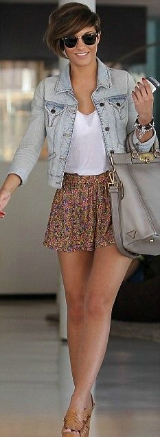 High waisted printed skirt and denim jacket  Frankie Sandford