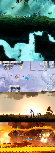 Rayman Origins is filled with gorgeous level designs Game Level Design, Game Ui Design, Prop Design, Game Environment, Environment Concept Art, Environment Design, 2d Game Art, Video Game Art, 2d Game Background