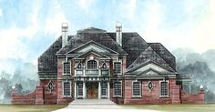 Greek Revival House Plan 72060 | Total Living Area: 3159 sq. ft, 4 bedrooms & 3.5 bathrooms. Corinthian columns announce an inviting entry and accent the sweeping staircase in the foyer, which opens to the formal dining hall and grand salon. #houseplan #greekrevivalstyle