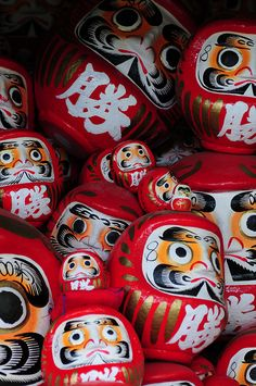 Japanese Daruma dolls are seen as a symbol of perseverance and good luck, making them a popular gift of encouragement in Japan. When one has a wish, they paint one eye of the daruma then when the wish/goal/dream comes true they paint the other eye Maneki Neko, Japanese Design, Japanese Art, Japanese Things, Daruma Doll, All About Japan, Turning Japanese, Art Japonais, Nihon