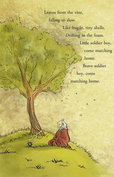 Leaves from the vine, falling so slow, like fragile, tiny shells, drifting in the foam, little soldier boy, come marching home, brave soldier boy, come marching home, sad, text, quote, song, Uncle Iroh, tree, shrine; Avatar: the Last Airbender