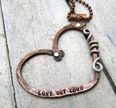 Personalized Copper Heart Necklace - Hand Stamped Jewelry -  Personalized Necklace with Mixed Metal Cold Connections Riveted (104)