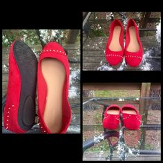 Red Merona Flats w/ Gold Studs Beautiful red flats that have never been worn! No studs are missing and no scuffs on the bottom. Open to offers  Merona Shoes Flats & Loafers
