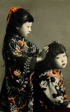 We love this - the kimono are so gorgeous. Two Girls, It looks like a hand-coloured postcard, but in fact it's a coloured collotype, which is a mechanical printing process used before offset lithography. Japanese Culture, Japanese Girl, Japanese Kimono, Samurai, Motifs Textiles, Portraits, Two Girls, People Of The World, Vintage Pictures