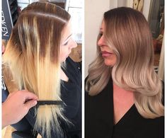 Step 1: Rootstreching with 5.0 and 7.13 Chromatics Redken and Olaplex No.1. Step 2: Rinse then blow dry. Step 3: Whole head foilayage and babylights in between, using Olaplex No.1 in all formulations. Step 4: Rinse and tone with mother of pearl 7.8 Redken for the mid shafts and clear platin pearl for the tips. Step 5: Rinse, follow with an Olaplex No.2 treatment, then style with a big curling iron. Color correction by the talented @RUBENLOSANGELES, a member of the private Olaplex User