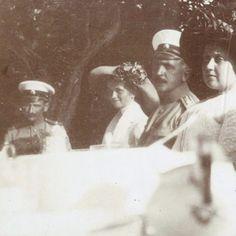 Rare photo of Olga with Pavel Voronov, N.P Sablin, and Anna Vyrubova, 1912
